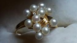 Gyémánt és igazgyöngy arany 585-ös gyűrű Ajándékozható!