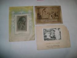 Egyházi jellegű emléklap - 1940, 1955, 1968 - három darab