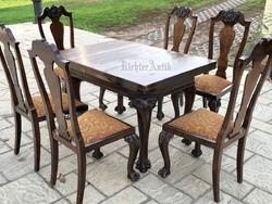 Antik bútor, Chippendale ebédlő garnitúra.