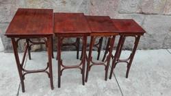 Thonet, gőzölt bükkfa szervízasztal szett, kínáló asztal ganritúra 4 db thonett