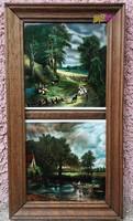 Keretezett csempekép páros pácolt fakeretben, XIX. századi Németalföldi festők műveivel.