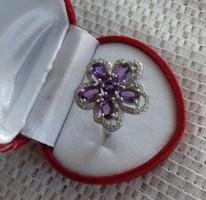 Csodás valódi ametiszt gyűrű 925 ezüst 14k arany bevonat 56/17,9