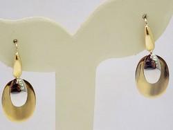 Sárga-fehér arany lógós fülbevaló (ZAL-Au76784)