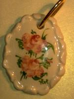 Antik nagy arany ozott porcelán kerámia rózsa medál kézzel festett és formázott egyedi ritkaság
