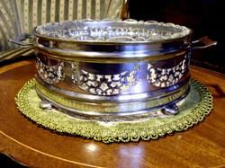 Gyönyörű, antik, ezüstözött, kristálybetétes, nagyméretű kínáló tál, asztalközép, akár pörköltes tál
