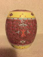 Érdekes tetővel kínai kézzel festett porcelán edény (FA)