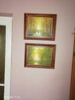 Erdőbelső, tájkép festmények olaj kartonon!!