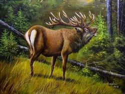 Gímszarvas 30X40cm olaj-vászon festmény