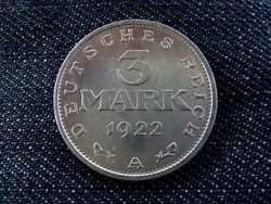 Weimari Köztársaság - 3 éves alkotmány emlék 3 Márka 1922 A /4659/