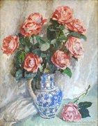 Boemm Ritta (1868-1948) Virágcsendélet 57x46cm Akvarell Papír Rózsa Csokor