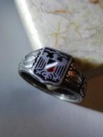 1914 - 1916, patrióta, zománcos első vh. ezüst gyűrű a német császárság stilizált címerével.