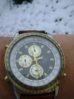 Luxus JAPÁN , nem sokat használt, arany acél ffi óra  ajándéknak is lehet  motoros szerkezet