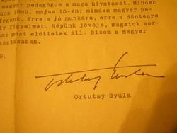 U15 Ortutay Gyula 1949 körlevele Vallási közoktatási Minisztérium 1949 május - 10 600 Ft