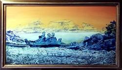 2 darab nagyméretű, mesés olajfestmény, egy áráért ( 90 x 50 )