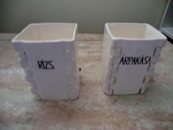 Finom porcelán fűszertartók Rizs és Árpakása felirattal, aranyozott Mizzi jelzéssel