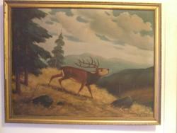 Szignos nagy vászon festmény