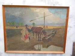 Juszkó Béla(1867-1969)Eredeti festménye.Itatás a pusztán.Nagyméretű.