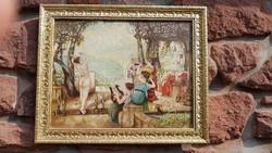 NIMFÁK mulatsága: Antik, barokk olajfestmény, életkép, 1800-as évek vége, aranyozott képkeret
