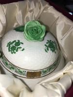Eredeti dobozában Herendi zöld Apponyi mintás bonbonier  13,5cm magas