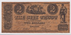 Two Dollars 1839. The City Trust & Banking Company