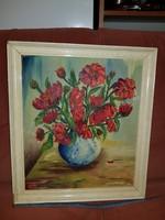 Pipacsok vázában, vászon, olaj, szignós, sérült