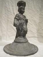 Antik figurális szobros ón gyertyatartó