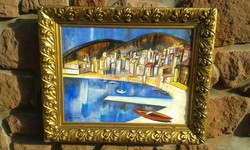 Aba-Novák Vilmos jelzés: Tájkép, olaj festmény, tölgyleveles aranyos képkeret.Szicíliai falu