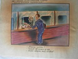 Ruszkay György karikatúra 24x18 cm