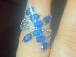 London Kék Topáz köves 925 ezüst- Fehérarany Gyűrű 7.5-es