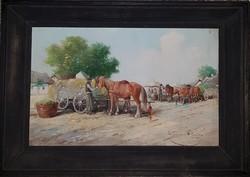 Gutaházy Németh Gyula (1892-1959) Vásár cimű festménye