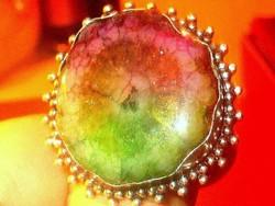 Tekintélyes Rubin- Zoizit  kr. 925 ezüst Gyűrű 19-es