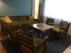 Antik kanapé, 4 fotel, dohányzóasztal szett