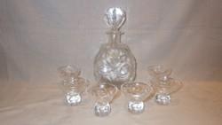 Antik ólomkristály likőrös készlet