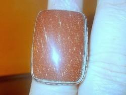 Tekintélyes Arany Napköves 925 ezüst Gyűrű 17-es