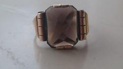 Arany gyűrű füstkvarcal díszítve régi jelzett 14 karátos