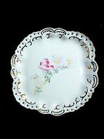 Retró Aquincumi rózsaszínvirágos áttört tányér