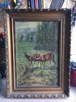 Őzek a tavaszi mezőn,olaj-vászon festmény