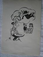 Szepes Béla TOTÓ -reklám karikatúra tus 15x21.5 cm