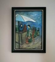 Régebbi festmény életkép olaj-faroston!!