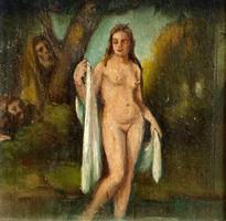 Zsuzsanna és a vének, ism. festő,olaj-fa