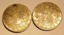 2 db ezüst 25 Schilling 1955