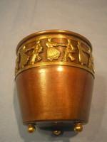 N17 Subotica népi motívumos 3 lábú kis tároló eladó 6 cm magas jelzett