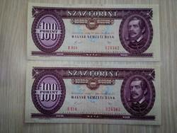 Sorszámkövető 100 Forintos 1989 UNC