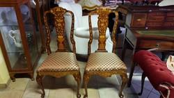 Queen Anne antik mahagóni székek /2 db/ Új kárpit!