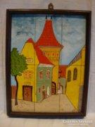 Gyönyörűséges csempe falikép , utcakép , jó színek