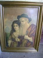 Bécsi XVIII sz.közepéről felülfestett (REMBRANDT?) eredeti keretében ez nem mindennapi darab.