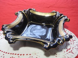 """Ilmenau   """" Echt kobalt  """"asztal közép  , tál  ,ragyogó kék és arany színben  28x28 cm"""