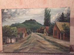 Bicskei Sándor: Falusi utca - jelzett, olaj, vászon