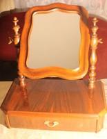 Antik biedermeier asztali fiókos tükör