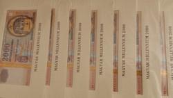 Aranyszálas Millenniumi papír 2000 forintosok 7db sorszámkövetőek